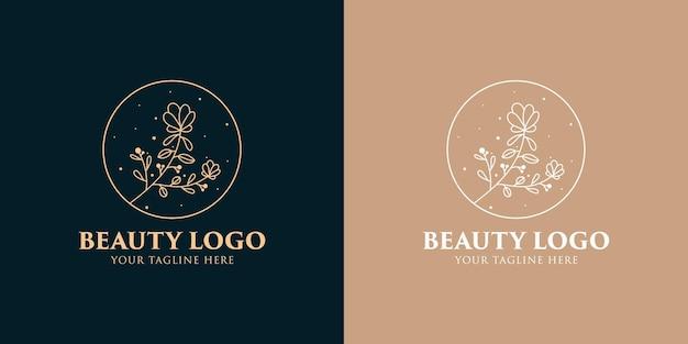 Hand getekend vrouwelijke schoonheid en bloemen botanische logo sjabloon voor spa salon huid- en haarverzorging