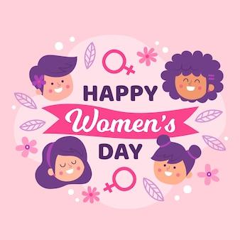 Hand getekend vrouwendag illustratie met letters