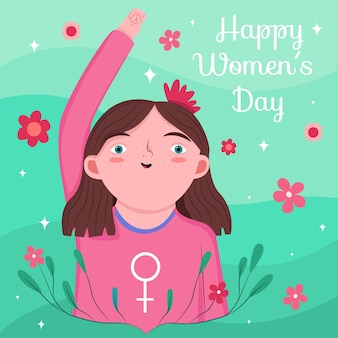 Hand getekend vrouwendag met vrouwelijk teken