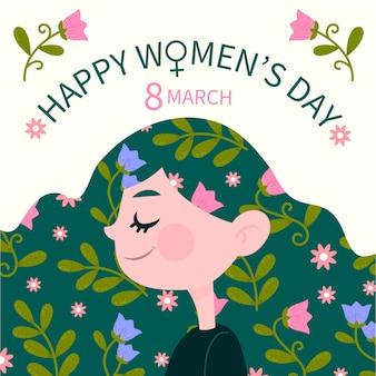 Hand getekend vrouwendag vrouwtje met bloemen in haar haar