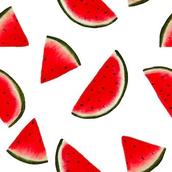 Hand getekend watermeloen fruit naadloos patroonontwerp op witte achtergrond