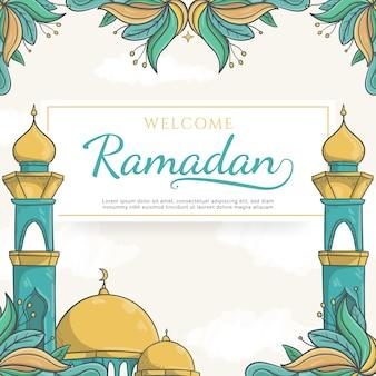 Hand getekend welkom ramadan wenskaart met islamitische ornament