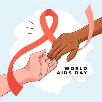 Hand getekend wereld aids dag met lint