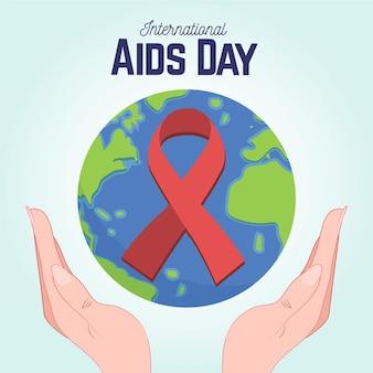 Hand getekend wereld aids dag