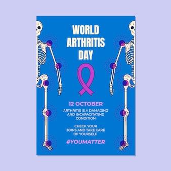 Hand getekend wereld artritis dag verticale poster sjabloon