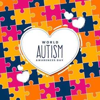 Hand getekend wereld autisme dag bewustzijn illustratie met puzzelstukjes