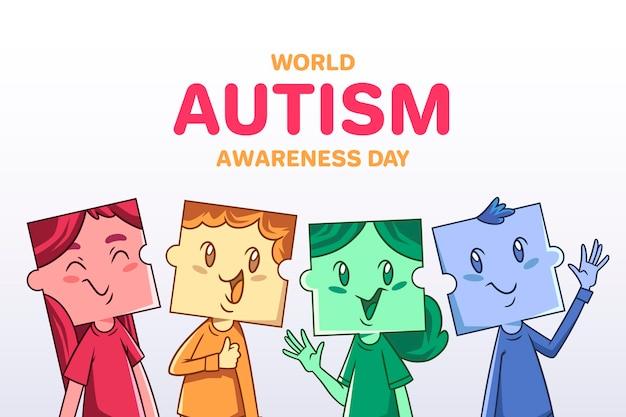 Hand getekend wereld autisme dag bewustzijn illustratie