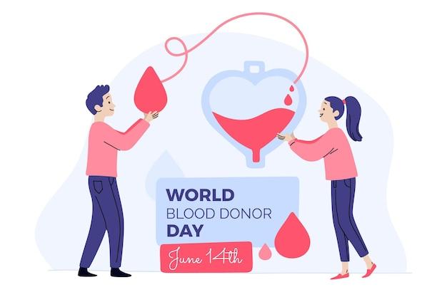 Hand getekend wereld bloeddonor dag illustratie