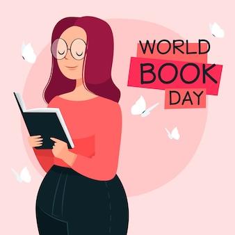 Hand getekend wereld boek dag concept