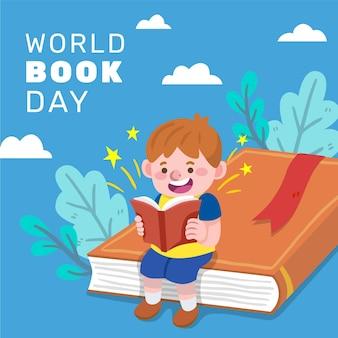 Hand getekend wereld boek dag illustratie met kind lezen