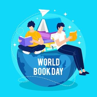 Hand getekend wereld boek dag illustratie met mensen lezen