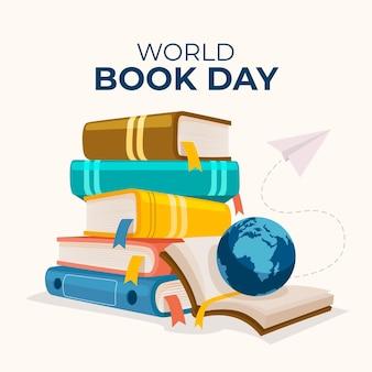 Hand getekend wereld boek dag illustratie met stapel boeken