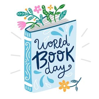 Hand getekend wereld boek dag illustratie