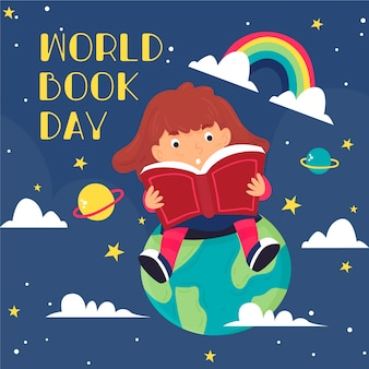 Hand getekend wereld boekdag illustratie met kind lezen op planeet met regenboog