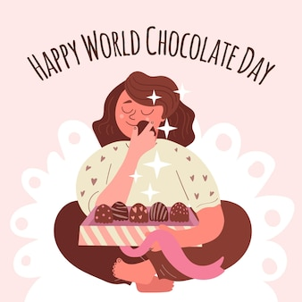 Hand getekend wereld chocolade dag illustratie