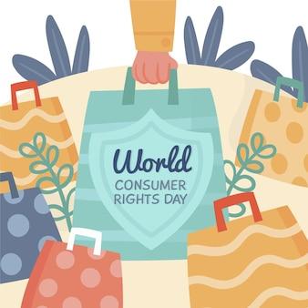 Hand getekend wereld consumentenrechten dag illustratie