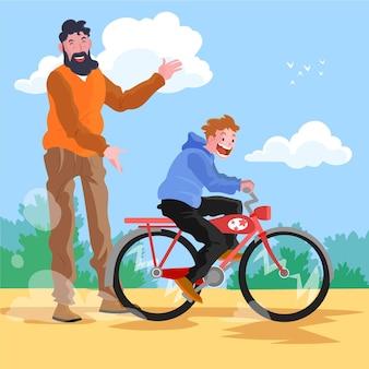Hand getekend wereld fiets dag illustratie
