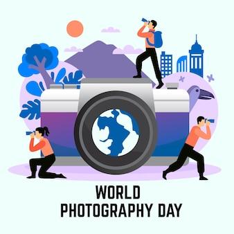 Hand getekend wereld fotografie dag illustratie