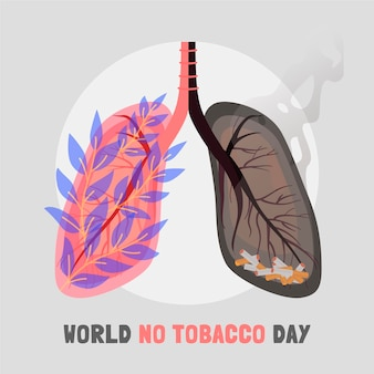 Hand getekend wereld geen tabak dag illustratie Gratis Vector