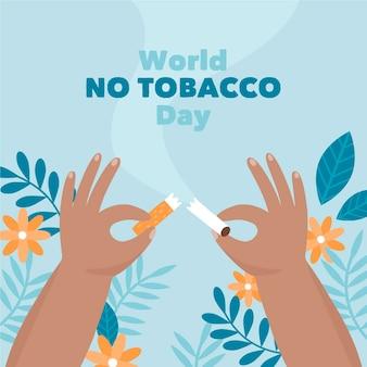 Hand getekend wereld geen tabak dag illustratie