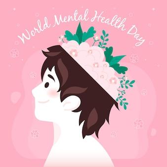 Hand getekend wereld geestelijke gezondheid dag concept