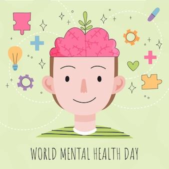 Hand getekend wereld geestelijke gezondheid dag evenement illustratie