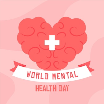 Hand getekend wereld geestelijke gezondheid dag met hartvormige hersenen