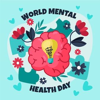 Hand getekend wereld geestelijke gezondheid dag met hersenen en gloeilamp