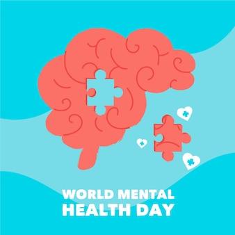 Hand getekend wereld geestelijke gezondheid dag met hersenpuzzel