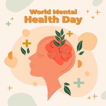 Hand getekend wereld geestelijke gezondheidsdag met hersenen en bladeren