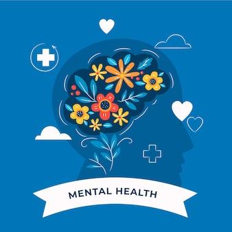Hand getekend wereld geestelijke gezondheidsdag met hersenen en bloemen
