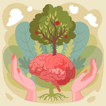 Hand getekend wereld geestelijke gezondheidsdag met hersenen en boom