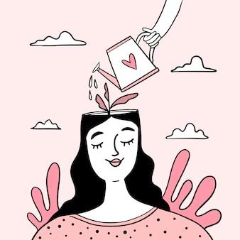 Hand getekend wereld geestelijke gezondheidsdag met vrouw