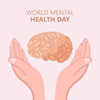 Hand getekend wereld geestelijke gezondheidsdag