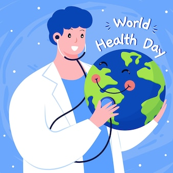 Hand getekend wereld gezondheid dag concept