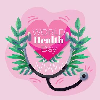 Hand getekend wereld gezondheid dag met hart en stethoscoop