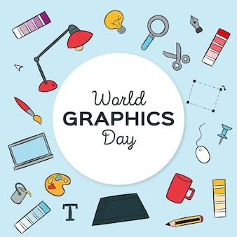 Hand getekend wereld grafische dag illustratie