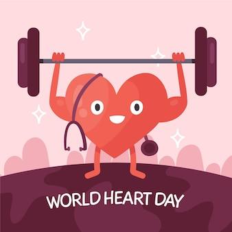Hand getekend wereld hart dag concept