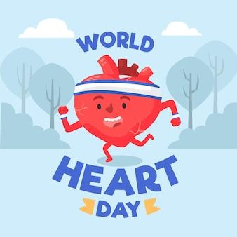 Hand getekend wereld hart dag illustratie