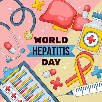 Hand getekend wereld hepatitis dag illustratie