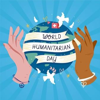 Hand getekend wereld humanitaire dag concept
