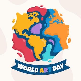 Hand getekend wereld kunst dag illustratie