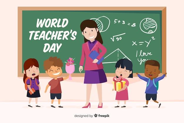 Hand getekend wereld leraren dag met kinderen