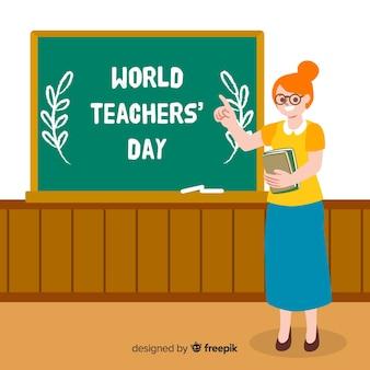 Hand getekend wereld leraren dag met vrouw