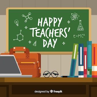 Hand getekend wereld leraren schoolbord