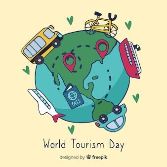 Hand getekend wereld met bezienswaardigheden en transport toerisme dag