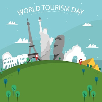 Hand getekend wereld met monumenten en busje