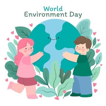 Hand getekend wereld milieu dag illustratie