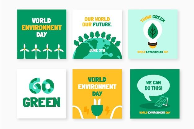 Hand getekend wereld milieu dag instagram posts collectie