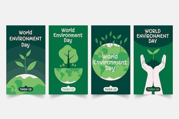 Hand getekend wereld milieu dag instagram verhalencollectie